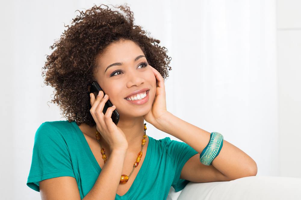happy woman phone call
