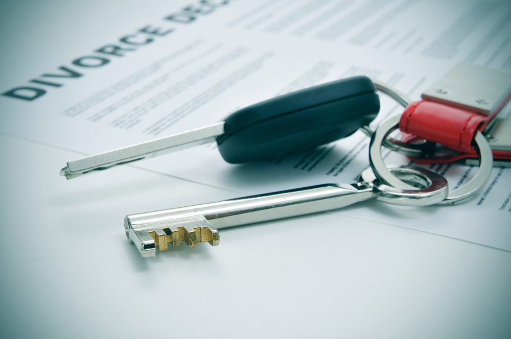 asset division in divorce - keys to home and car